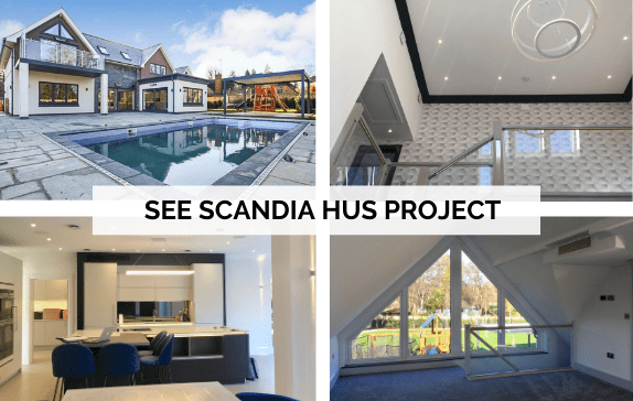 Link to Scandia Hus Project with 4 small images of the property, exterior and the air con solutions in 3 rooms