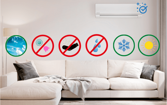 Diagram showing the benefits of air con