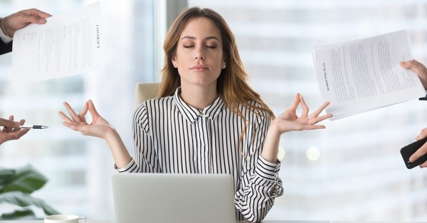 very stressed woman
