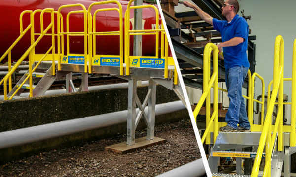 OSHA compliant stairs system with fall protection