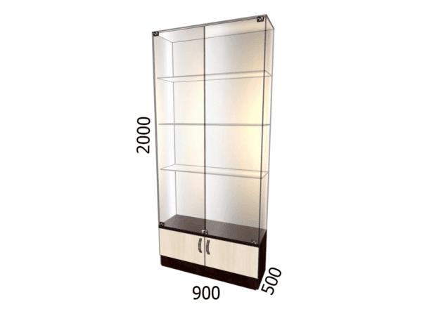 Витрина стеклянная с накопителем фасад зеркало 900*500*2000