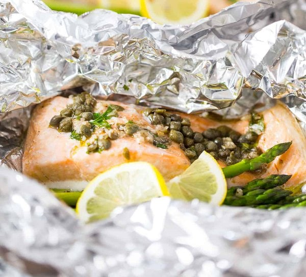 Salmon Foil Packets hot from the oven