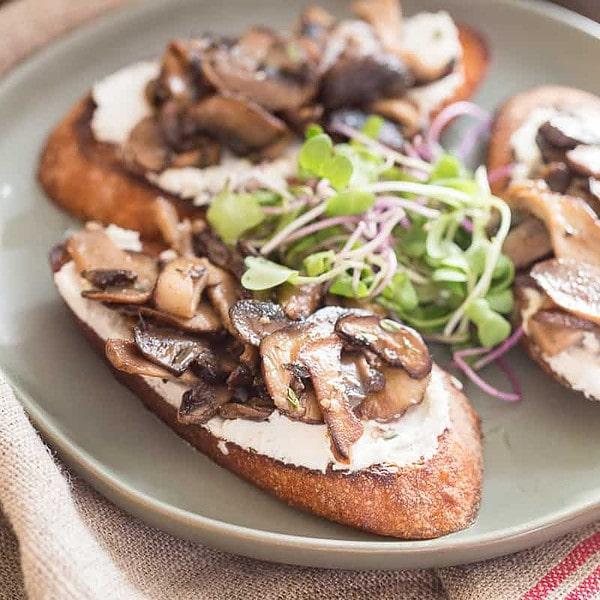 Mushroom Toast with Goat Cheese