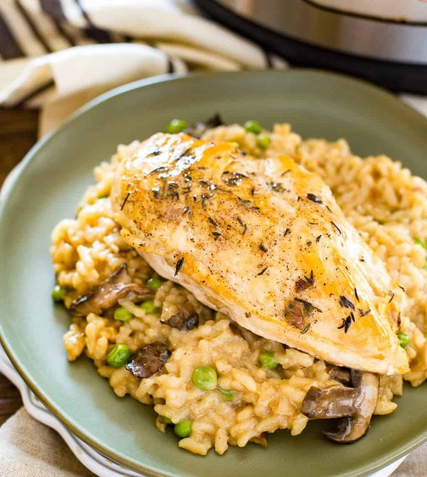 chicken risotto on a plate