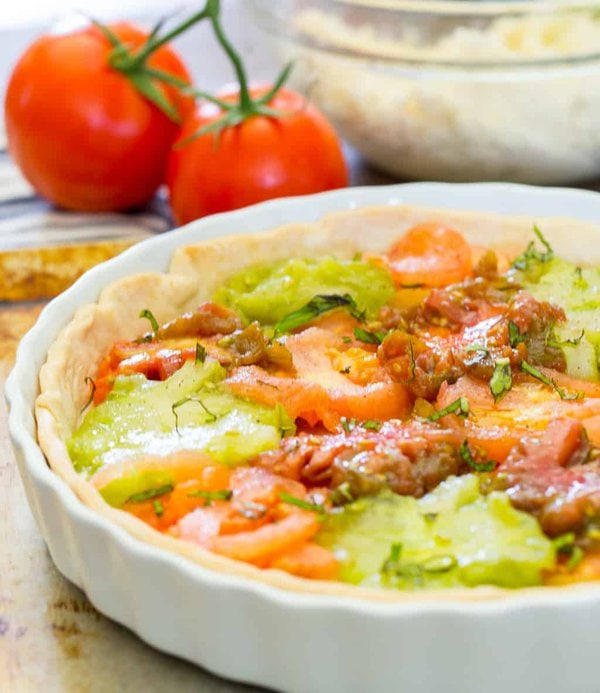 southern tomato pie with heirloom tomatoes
