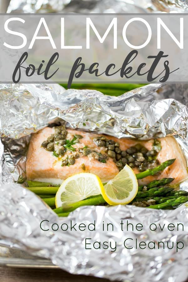 salmon foil packets cooked in the oven with asparagus