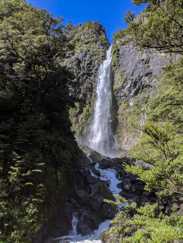 Devils Punchbowl Falls from the viewing platform at the end of the Devils Punchbowl Walking Track