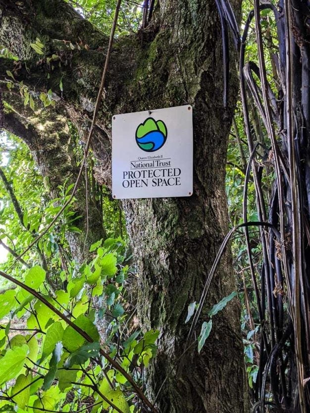 sign for the Queen Elizabeth II National Trust Act at mount tutu eco-sanctuary