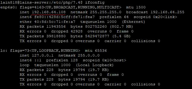 10. ifconfig resulting local ip address