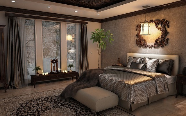 cozy bedroom with battery powered flameless candles
