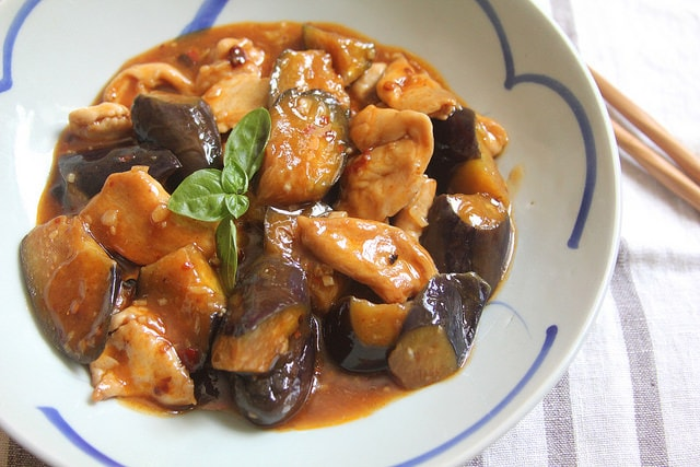 Chicken and Eggplant Stir-Fry with Spicy Black Bean Sauce