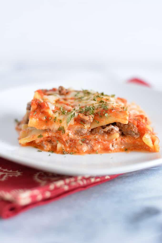 Beef Lasagna slice on a plate
