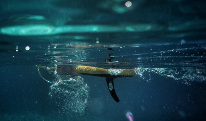 inflatable stand up paddle board view from underwater