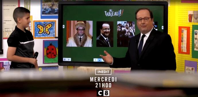 François Hollande et un écran interactif Clevertouch
