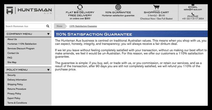 screenshot of 110% satisfaction guarantee on website