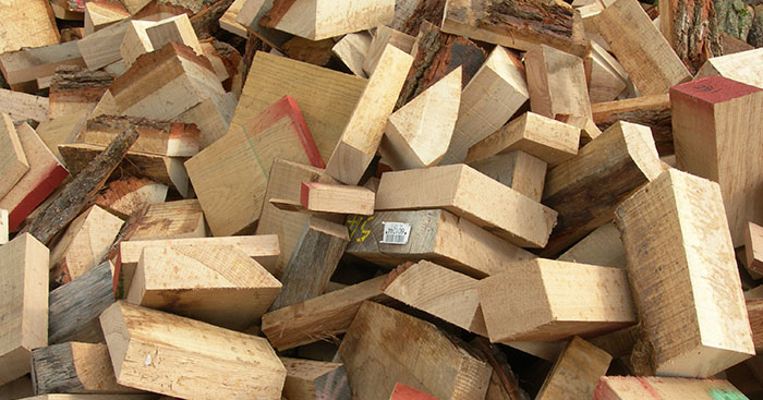 Offcut wood from guillotine