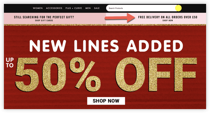 screenshot of Forever 21 homepage showing free shipping
