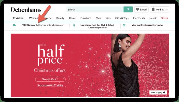 screenshot of Debenhams homepage showing free shipping