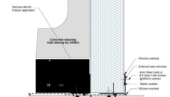 Dettaglio parete pavimento isolato F PF07 - disegni tecnici - pannelli termici srl