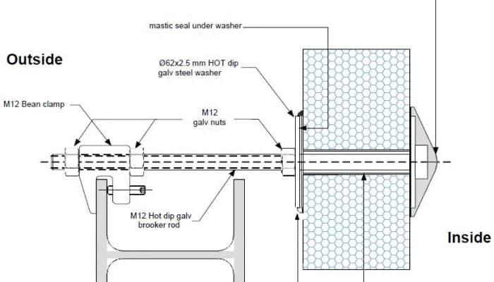 Dettaglio parete intermedia supporto di fissaggio pannello, dettaglio pareti esterne K PF11 - disegni tecnici - pannelli termici srl