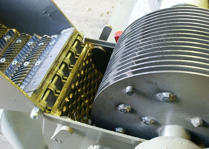 View of the Scanhugger hammer mill with internal view ready for making pellets and briquitting