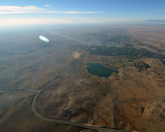 Aerial view over the plains of Colorado Springs during our hot air balloon experience.