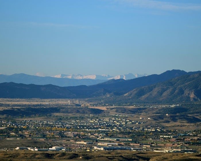 Beautiful clear blue skies in Colorado Springs looking towards the Rocky Mountains.