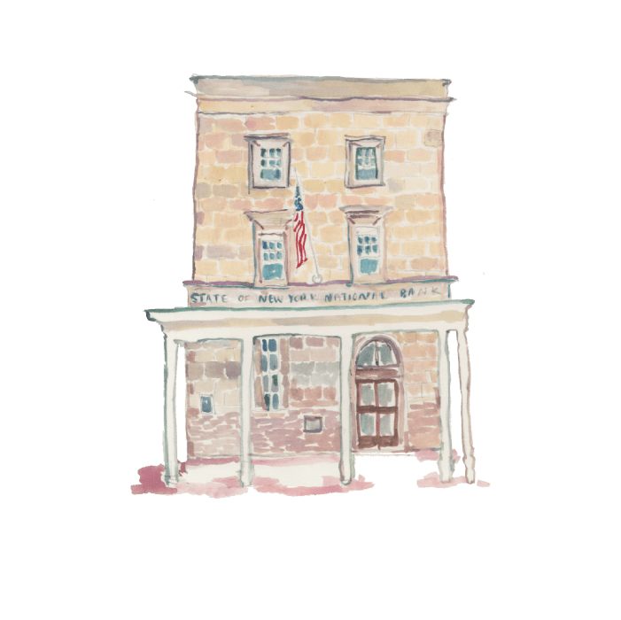 Illustrated Wall Street building