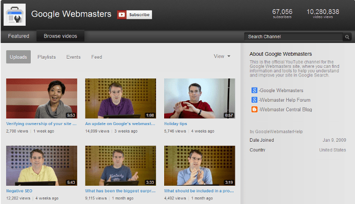 Webmaster Tools YouTube Channel