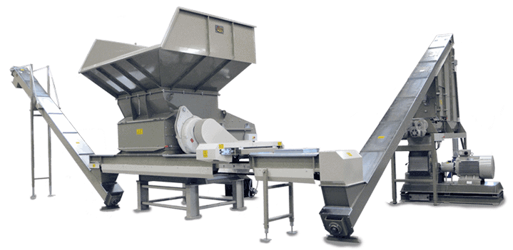 Scanhugger complete turnkey wood waste recycling shredder with hopper shredder conveyors, metal separation and hammer mill