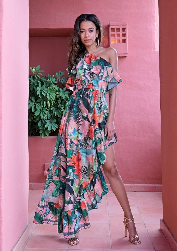 Sukienka na wesele maxi Flower Ruffles