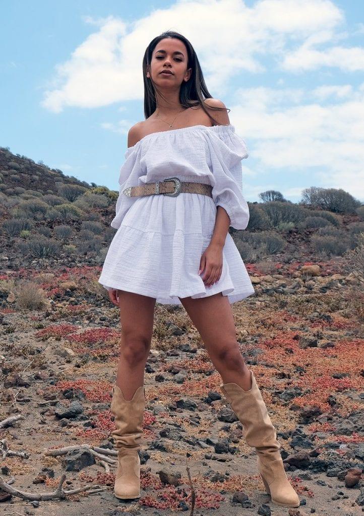 Muślinowa sukienka boho Biała