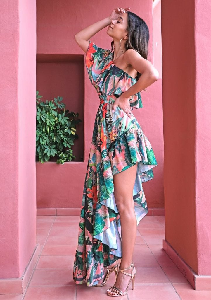 Sukienka do klubu maxi Flower Ruffles