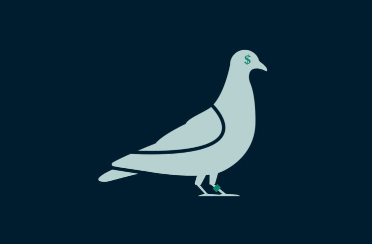 A pigeon with a dollar sign for an eye.