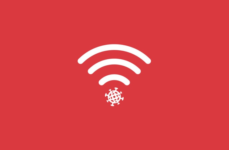 Wi-Fi symbol with a virus.