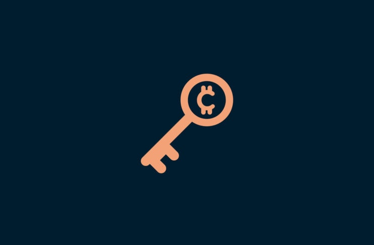 Key with cryptocurrency symbol.