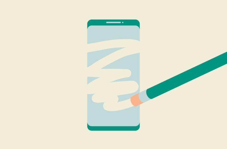 Pencil eraser wiping a smartphone.