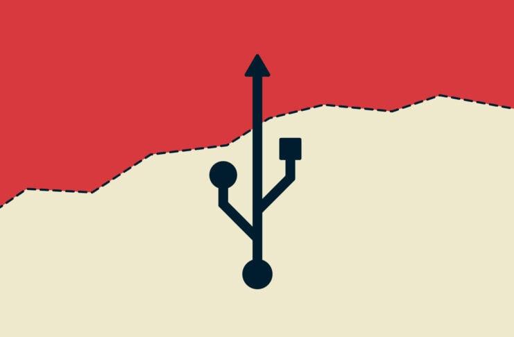 USB symbol crossing border.