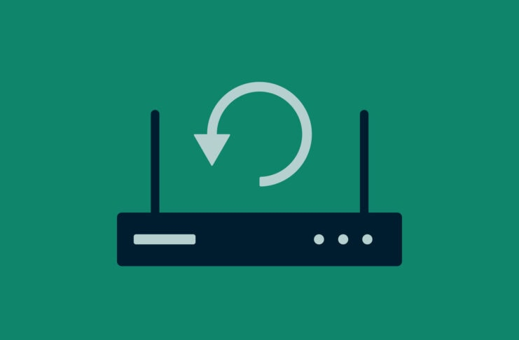 Reset symbol with router icon.