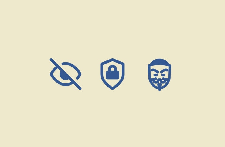 An obscured eye, a shield with a padlock, and a face mask.