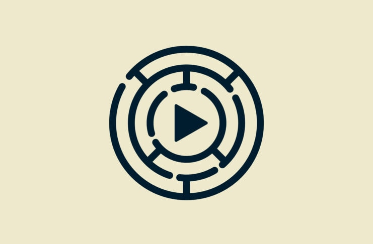Play button inside labyrinth.
