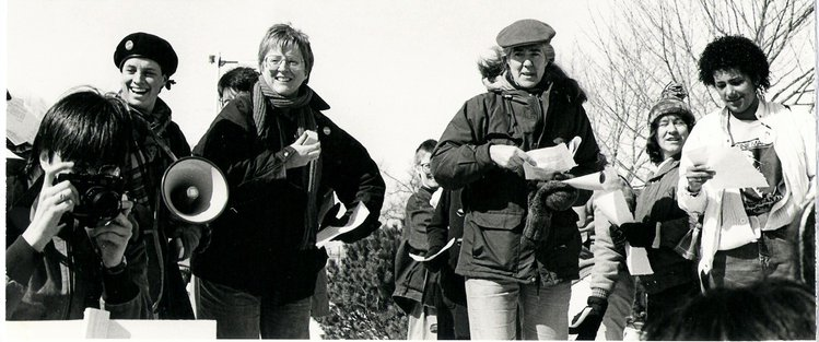 1986 Bethan Lloyd (my mom), Shelly Finsen (her partner) and others at International Women's Day march