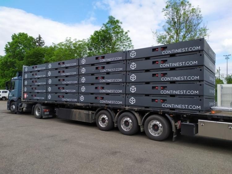összecsukható konténer teherautó pótkocsi