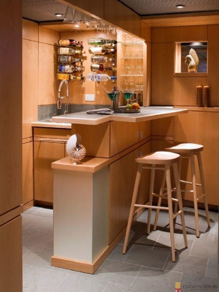угловая, барная стойка, фото, пример, кухня