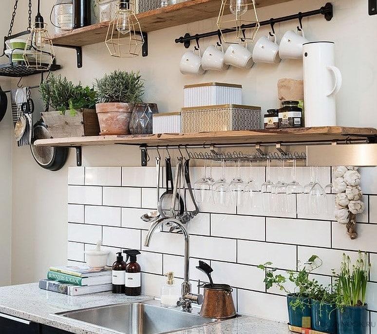 полки, кухня, в скандинавском стиле, фото, пример