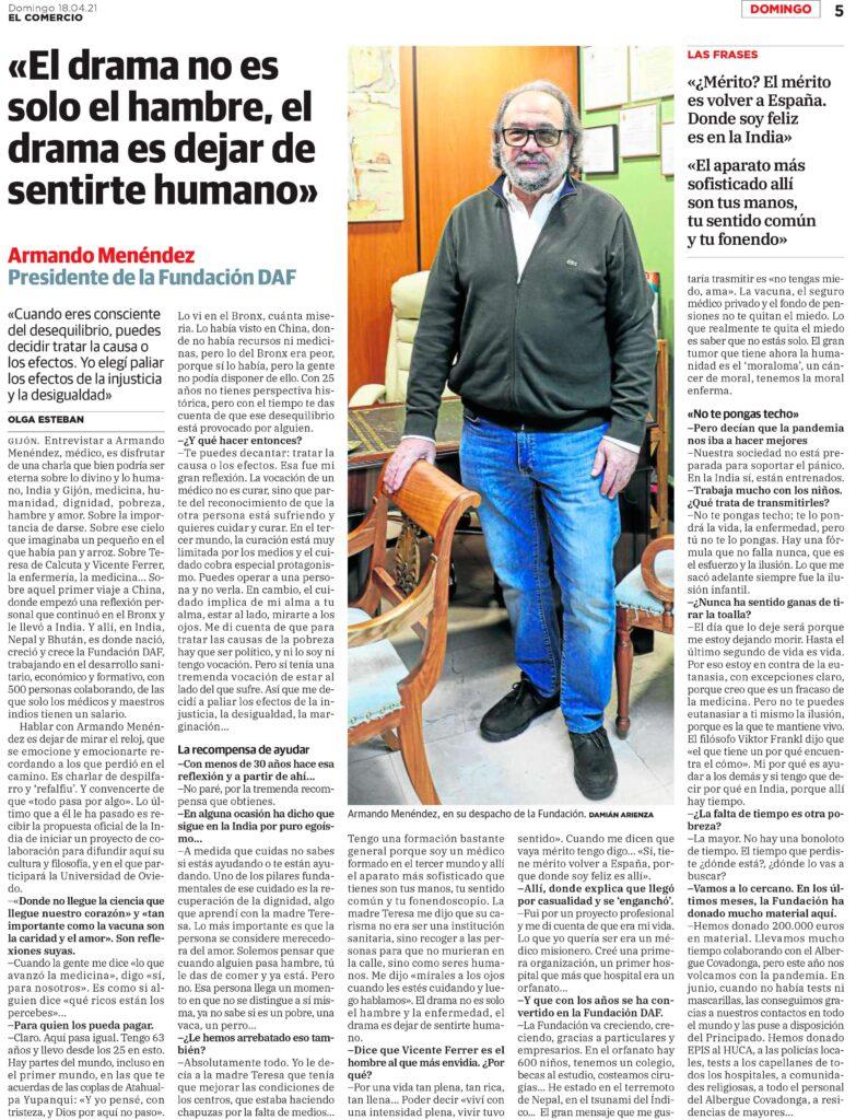 Entrevista en El Comercio al presidente de DAF, Armando Menéndez