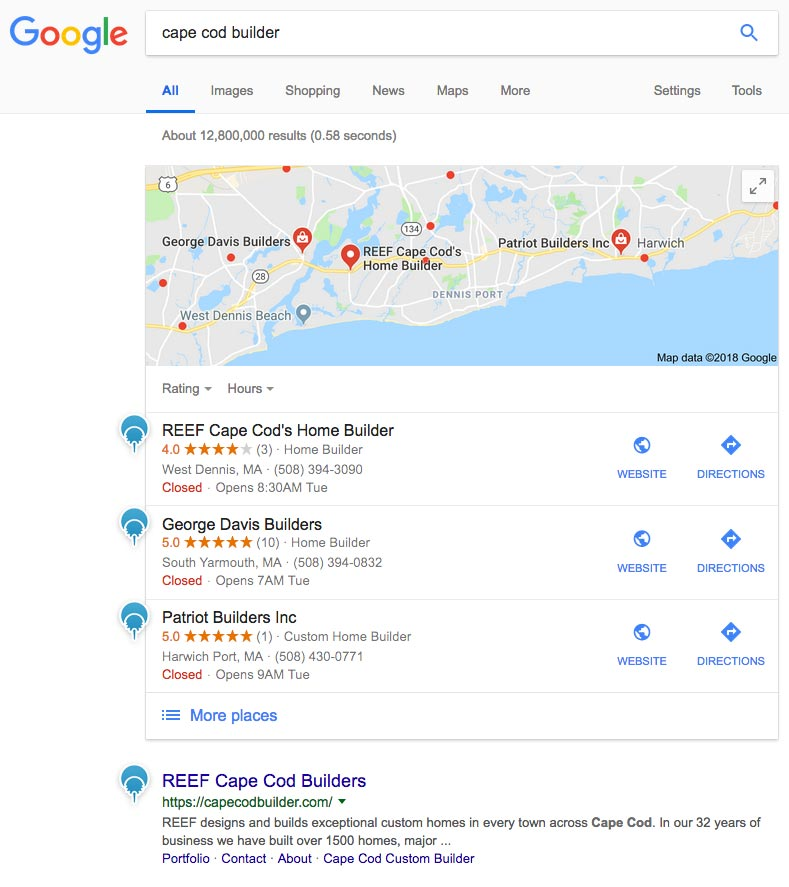 3 Community Web Development clients show up on the front page of Google for Cape Cod Builder keyphrase