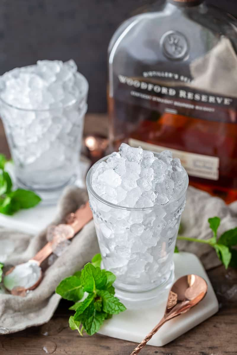 Mint Julep Cups in Glass full of ice