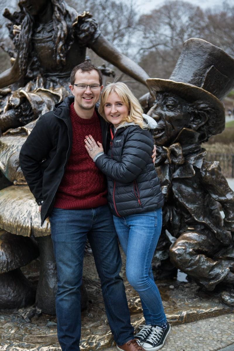 Photo 4 Surprise wedding proposal by Alice in Wonderland statue in Central Park. | VladLeto
