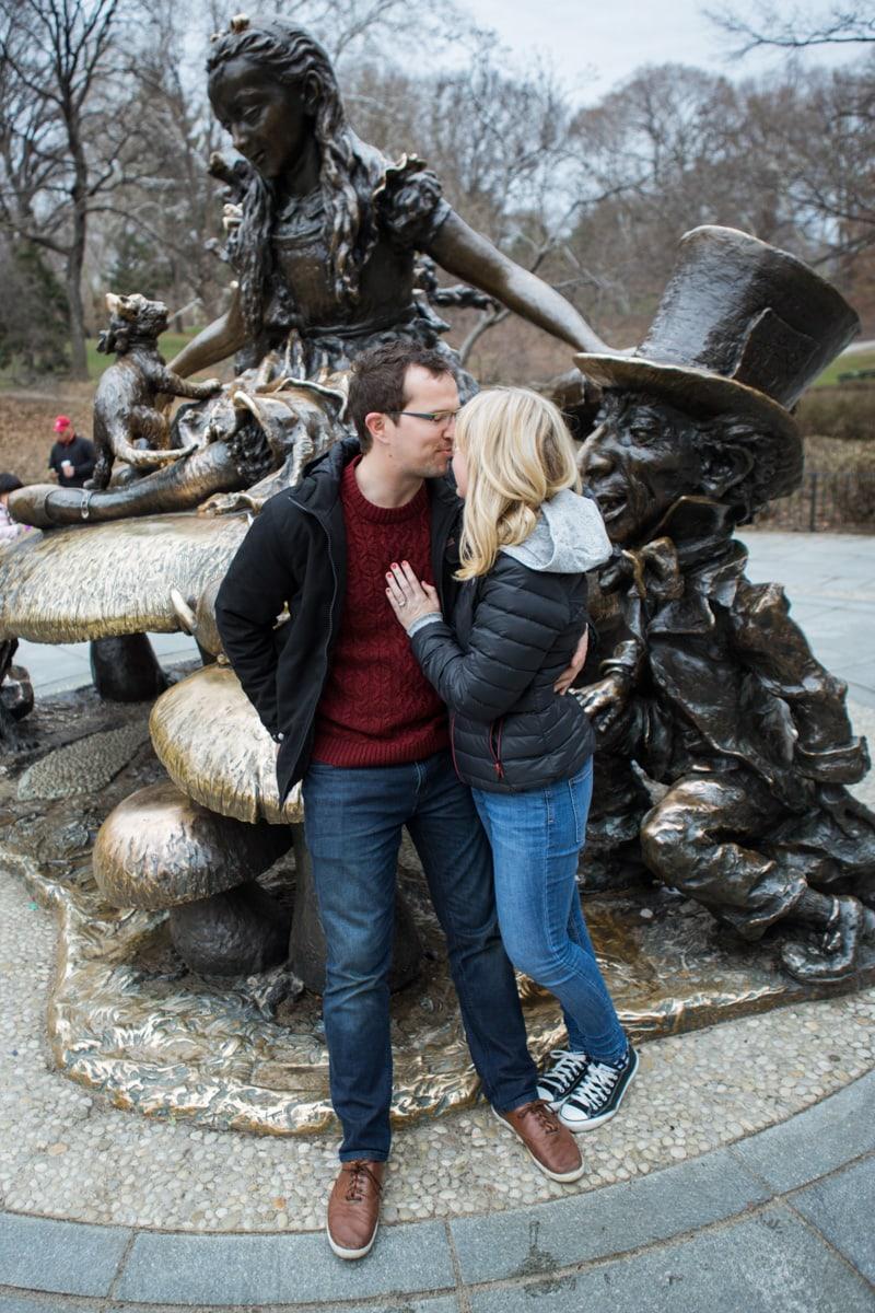 Photo 7 Surprise wedding proposal by Alice in Wonderland statue in Central Park. | VladLeto